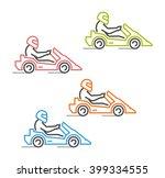 modern outline go kart symbol.... | Shutterstock .eps vector #399334555