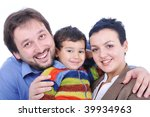 Happy members of young family isolated - stock photo