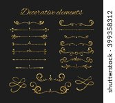 golden dividers set. ornamental ... | Shutterstock .eps vector #399358312