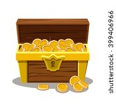 Wood Treasure Chest And Gold...