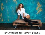 sexy young woman in a man's... | Shutterstock . vector #399414658