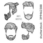man hairstyle. set of hand... | Shutterstock .eps vector #399462388