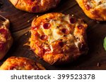 homemade cheesy pepperoni pizza ... | Shutterstock . vector #399523378