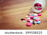 pharmacy background on a wood... | Shutterstock . vector #399538525