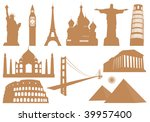 landmark icons. vector... | Shutterstock .eps vector #39957400
