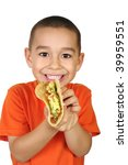 Six-year-old Hispanic boy with authentic Mexican taco, isolated on white background - stock photo