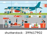 business people in airport... | Shutterstock .eps vector #399617902