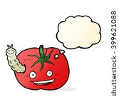 cartoon tomato with bug with... | Shutterstock .eps vector #399621088