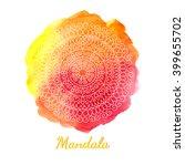 mandala on watercolor abstract... | Shutterstock .eps vector #399655702
