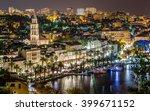 Aerial View On Night Panorama...