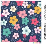 colorful floral seamless vector ... | Shutterstock .eps vector #399702202