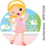 cute girl twirling hula hoop | Shutterstock .eps vector #39971530