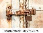 Old Key Lock On Rusty  Freight...