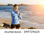 runner woman with heart rate... | Shutterstock . vector #399729625