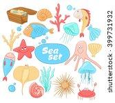 funny cartoon sea creatures.... | Shutterstock .eps vector #399731932