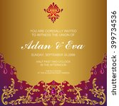 wedding invitation or card with ... | Shutterstock .eps vector #399734536