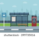 bus stop with city background . ... | Shutterstock .eps vector #399735016