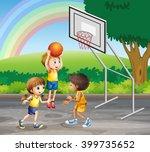 three children playing... | Shutterstock .eps vector #399735652