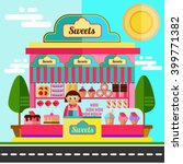 sweets shop or city cafe with... | Shutterstock .eps vector #399771382