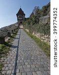 paved pathway throug vinyards... | Shutterstock . vector #399774352