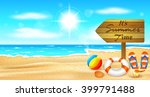beach and tropical sea with... | Shutterstock .eps vector #399791488