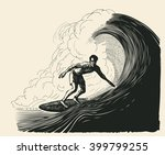 Surfer And Big Wave. Engraving...
