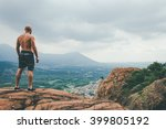hiker enjoying the view on the...   Shutterstock . vector #399805192