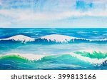 sea wave watercolor | Shutterstock . vector #399813166