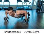 muscular man doing push ups on... | Shutterstock . vector #399833296