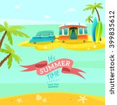 van on the beach. vector summer ... | Shutterstock .eps vector #399835612