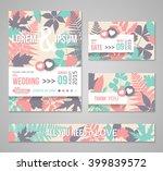 retro wedding invitations... | Shutterstock .eps vector #399839572