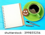 notebook with fountain pen and... | Shutterstock . vector #399855256