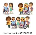 group of happy children with... | Shutterstock .eps vector #399885232