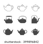 tea pots set. vector line tea... | Shutterstock .eps vector #399896842