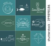 vector set of seafood logos.... | Shutterstock .eps vector #399898186