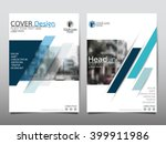 Blue annual report brochure flyer design template vector, Leaflet cover presentation abstract flat background, layout in A4 size | Shutterstock vector #399911986