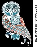 Patterned Owl In Floral Style....