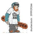 monster holding a snowboard... | Shutterstock .eps vector #399929266