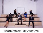 group of a young men and women... | Shutterstock . vector #399935098