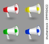 megaphone icon art. 3d.... | Shutterstock .eps vector #399950422