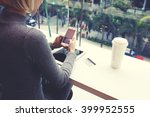 closely of woman is typing text ... | Shutterstock . vector #399952555