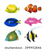 Tropical Fishes Set. Zebrasoma...