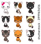 Stock vector cat set with black cat white cat grey cat grey and white cat brown and black act brown cat 399965656