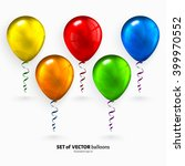 set of colorful flying balloons ... | Shutterstock .eps vector #399970552