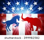 a donkey and elephant in... | Shutterstock .eps vector #399982582