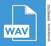 wav icon on blue background.