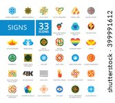 signs flat icons set | Shutterstock .eps vector #399991612