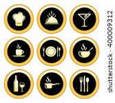 food   restaurant icons gold... | Shutterstock . vector #400009312
