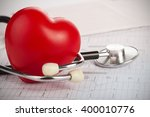 cardiogram with stethoscope and ... | Shutterstock . vector #400010776