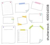 collection of white note papers ... | Shutterstock .eps vector #400016038